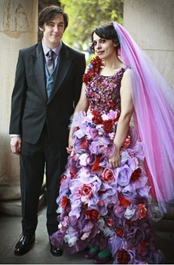 Wedding Dress made from Flowers - rocker wedding