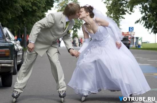 прикольная свадьба на коньках