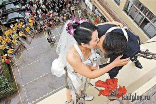 прикольная свадьба скалолазов