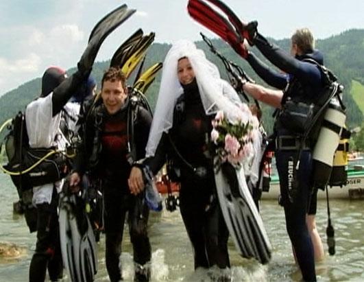 прикольная свадьба  аквалангистов