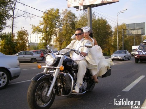 прикольная свадьба на мотоцикле