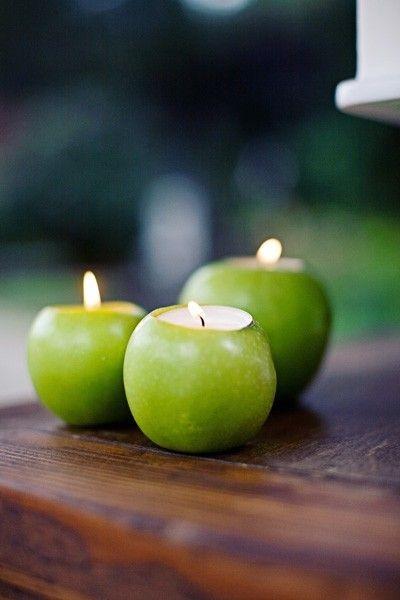 свечи: свадьба в стиле яблоки