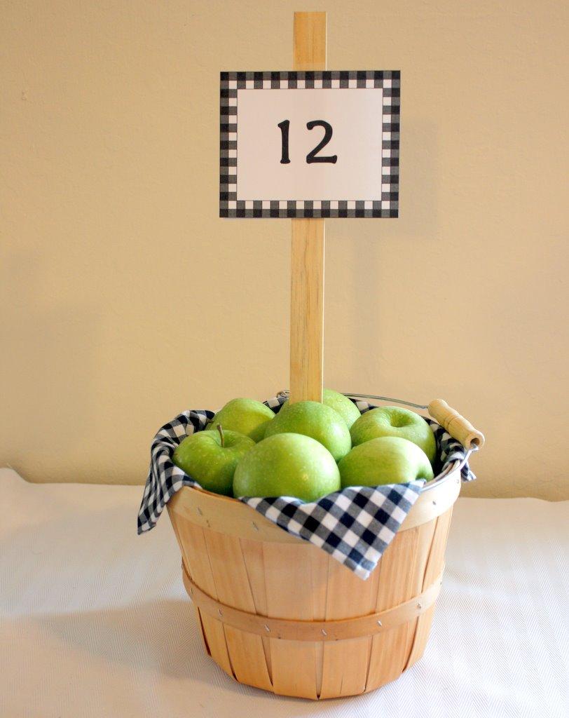 свадьба в стиле яблоки: номера столов