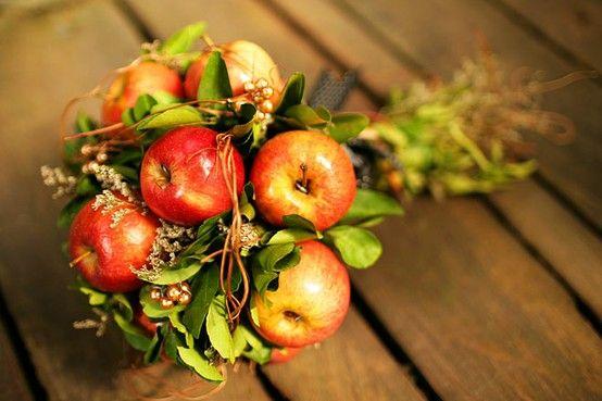 свадьба яблоки: букет для невесты