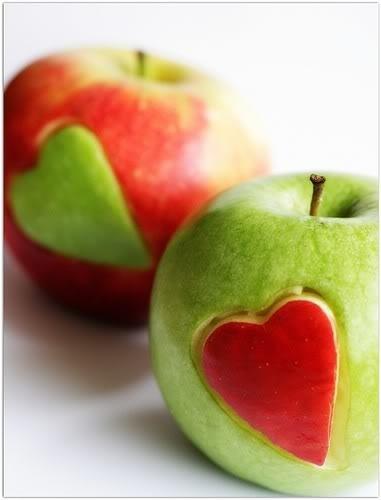 свадьба яблоки: сердечки