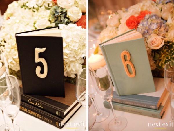 Номер стола на свадьбу на книге