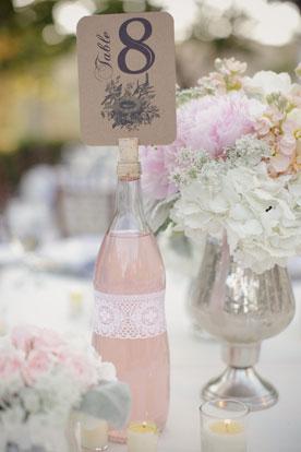 Номер стола на свадьбу на бутылке