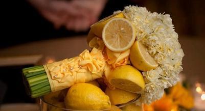 необычный свадебный букет: с лимоном