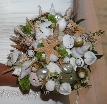 необычный свадебный букет: морская свадьба