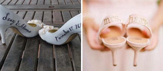 необычные свадебные туфли - декор