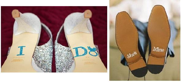 декор свадебных туфлей: инициалы