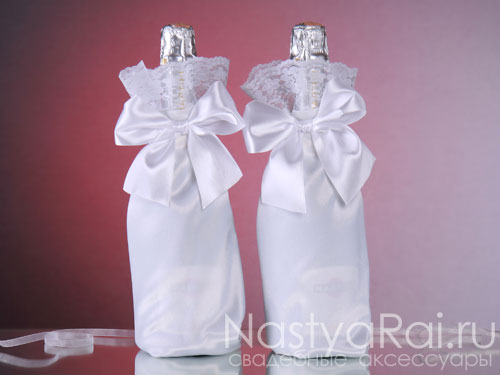 шампанское свадебное самостоятельно, декор свадебного шампанского, оформление свадебного шампанского, свадебное шампанское своими руками