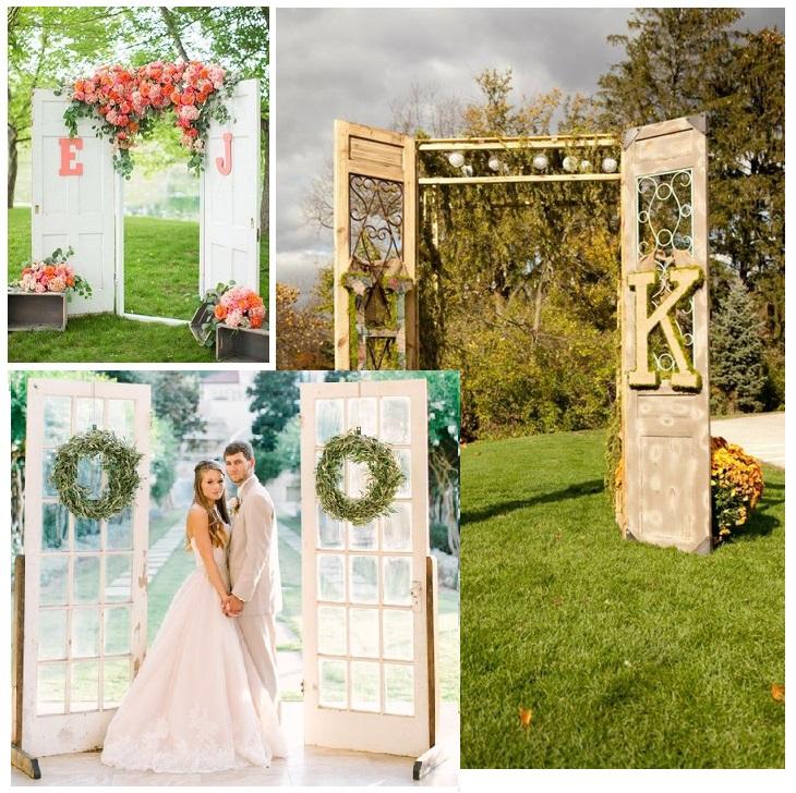 дверои на свадьбу, двери-арка на свадьбу, свадебные двери, арка из дверей своими руками